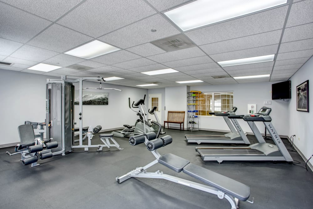 On-site gym with various pieces of equipment at Hanover Place in Tinley Park, Illinois