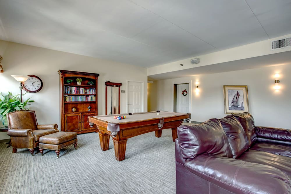 Activity room with a billiards table at Hanover Place in Tinley Park, Illinois