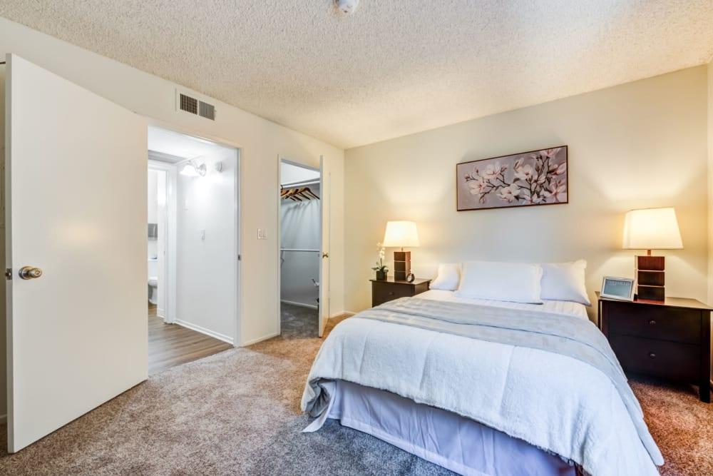 Model bedroom at The Hallmark in Sherman Oaks, California