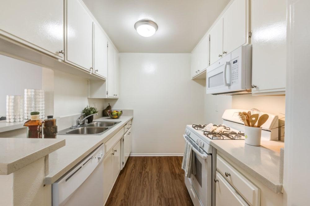 Model kitchen at The Hallmark in Sherman Oaks, California