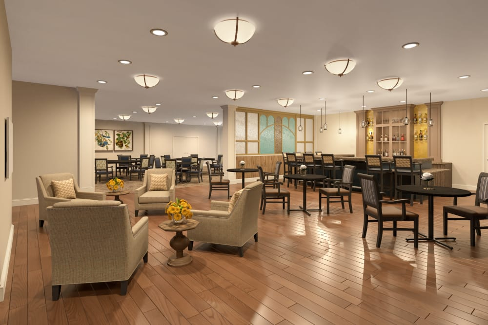 A lounge at Worthington Manor in Conroe, Texas