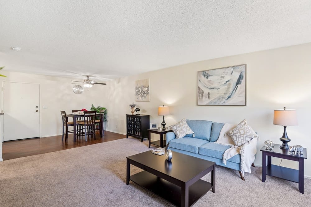 Spacious carpeted living room at The Diplomat, in Studio City, CA