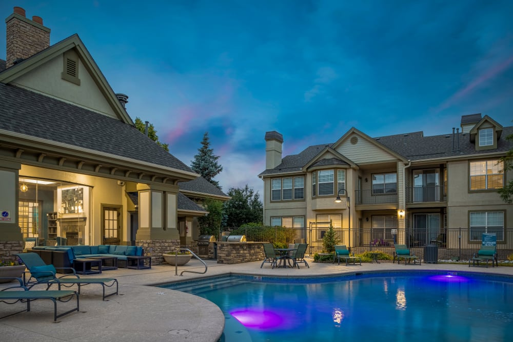 Clubhouse view from the pool during sunset at Marquis at Town Centre in Broomfield, Colorado