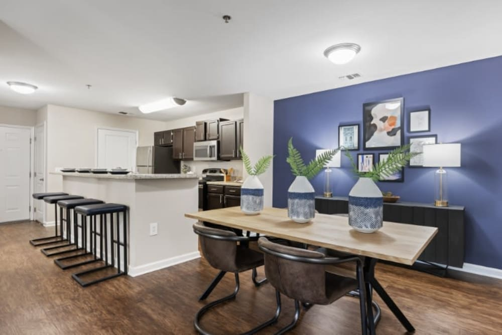 Modern and well decorated open kitchen at Marquis on Cary Parkway
