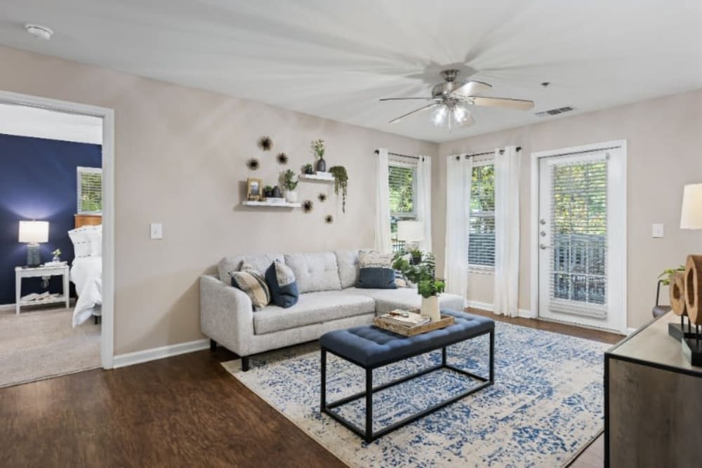 Well decorated model living room at Marquis on Cary Parkway