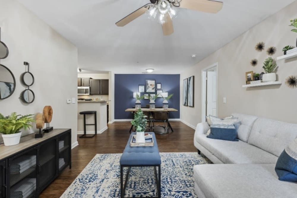 View of dining nook from model living room at Marquis on Cary Parkway