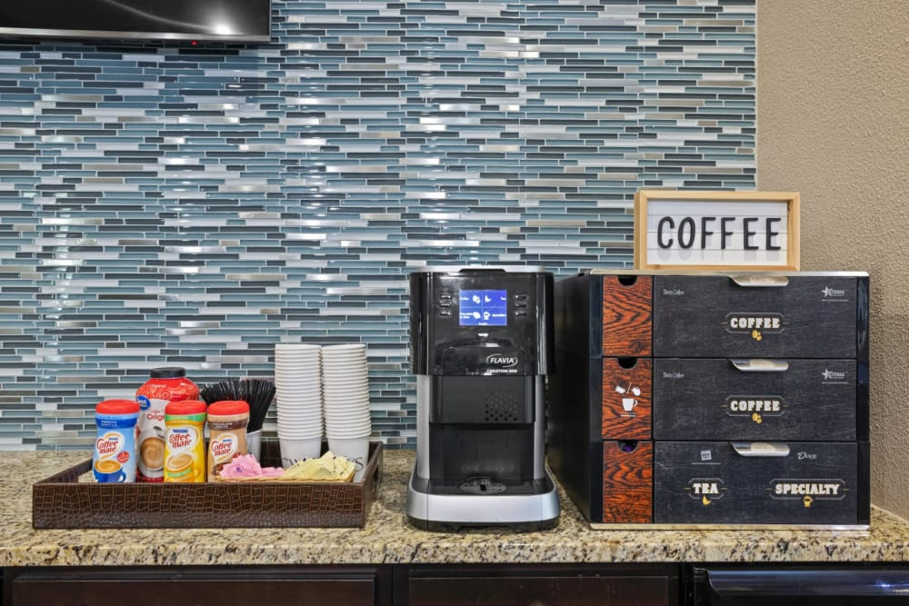 Free coffee on site at The Marquis at Brushy Creek in Austin, Texas