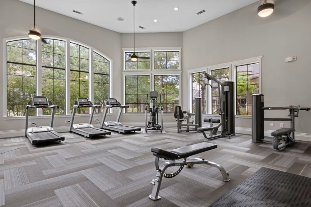 Treadmills and plenty of natural light in the fitness center at The Marquis at Brushy Creek