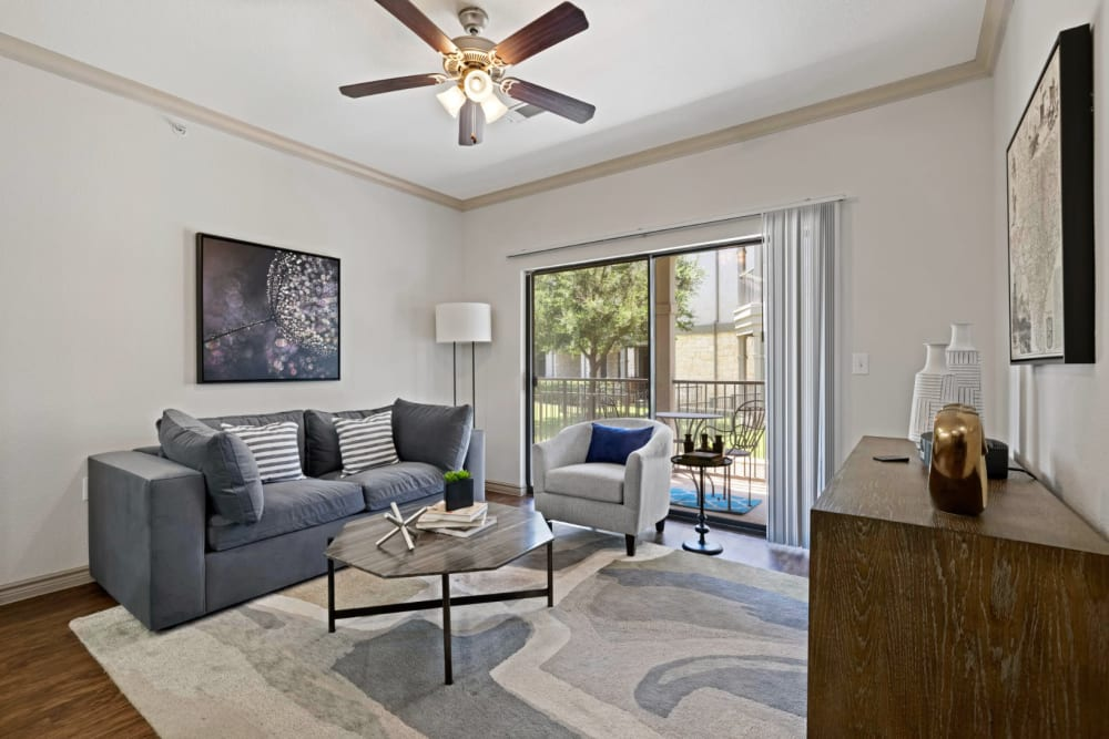 Well decorated model living room at The Marquis at Brushy Creek