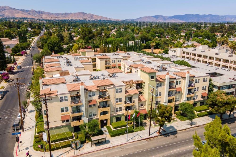 Aerial shot of at The Villagio in Northridge, CA