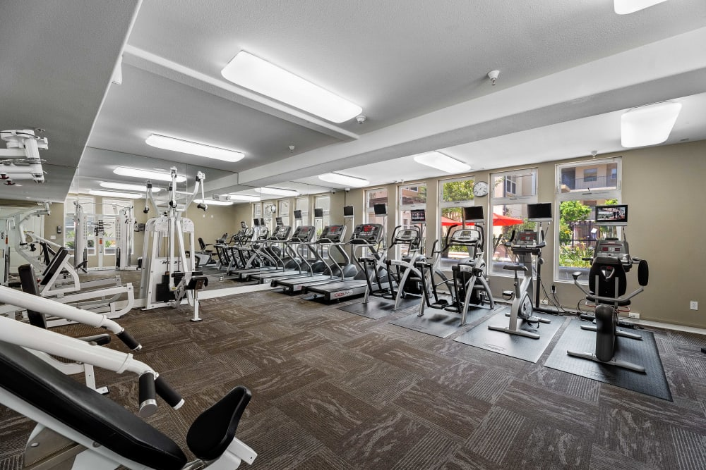Fully equipped fitness room at The Villagio in Northridge, CA