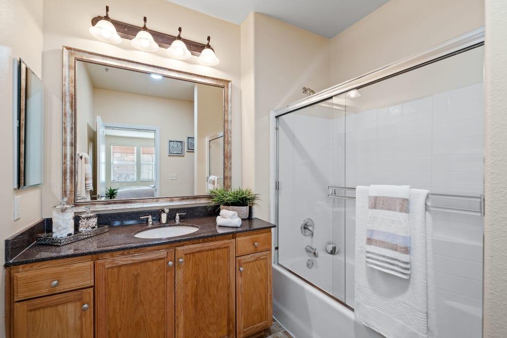 Bright bathroom in model bathroom at The Villagio in Northridge, CA