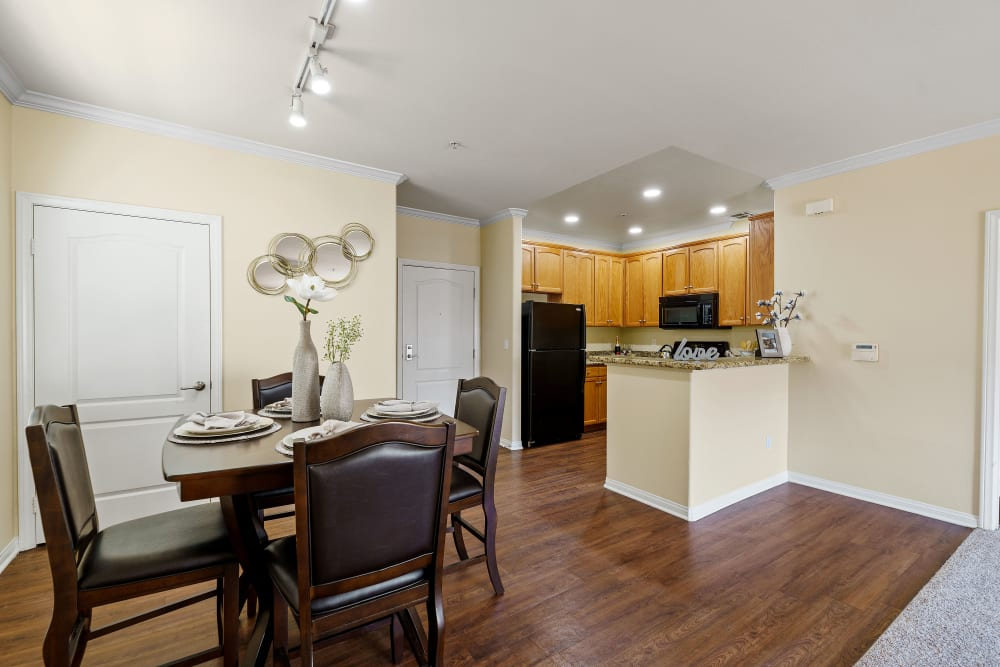 Spacious kitchen and dining area at The Villagio in Northridge, CA
