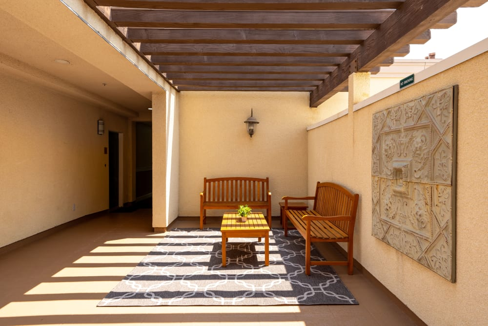 Outdoor sitting area at The Villagio in Northridge, CA