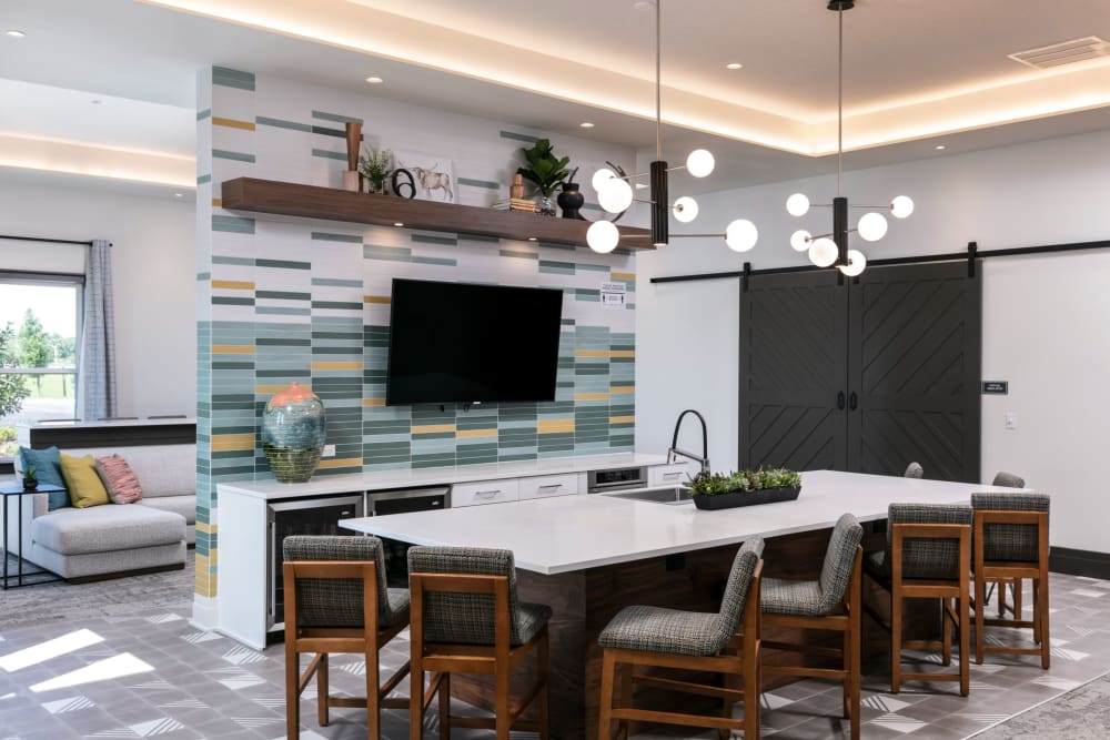 Large island in clubhouse at Integra Crossings in Sanford, Florida