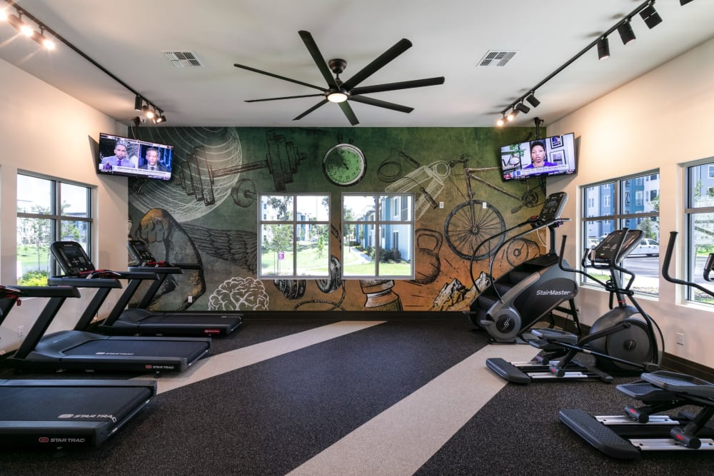 Cardio machines in fitness center at Integra Crossings in Sanford, Florida