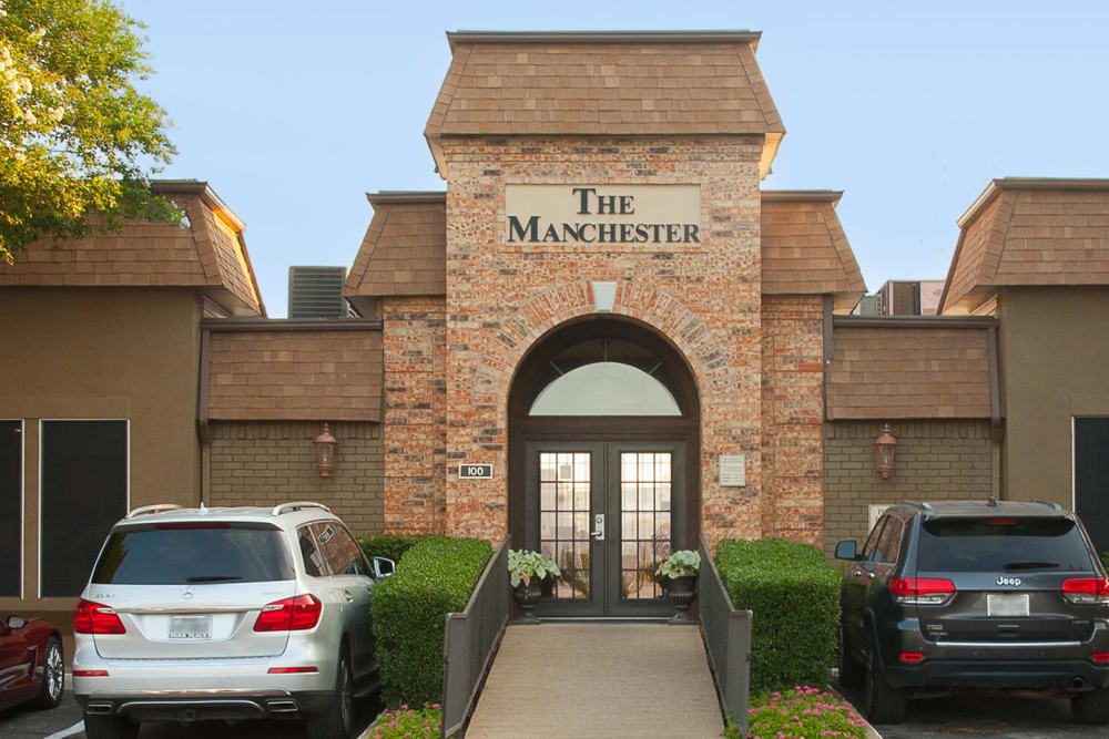 Entrance to the office at The Manchester Apartments in Euless, Texas