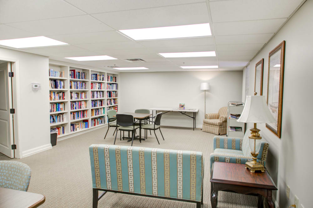 Library and activity room at Truewood by Merrill, Riverchase in Hoover, Alabama.