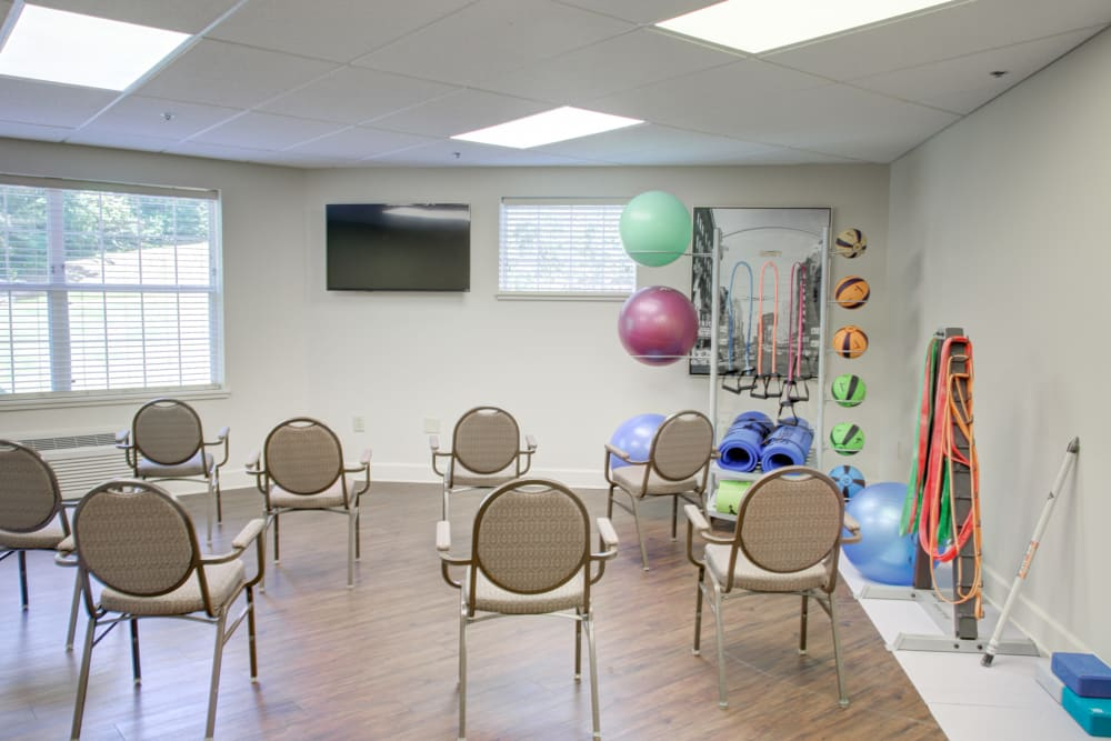 Fitness and activity space at Truewood by Merrill, Riverchase in Hoover, Alabama.