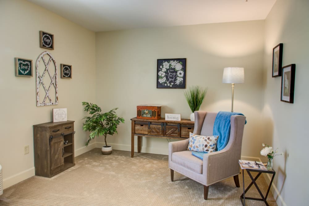 Living room space of a unit at Truewood by Merrill, Riverchase in Hoover, Alabama.
