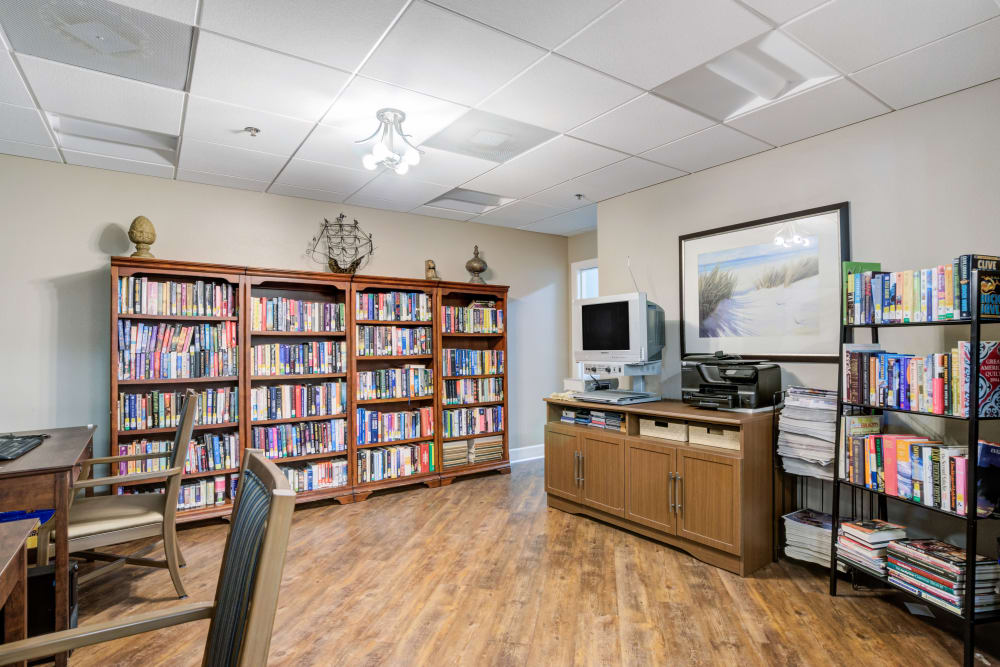 Library and reading area at Truewood by Merrill, Port Charlotte in Port Charlotte, Florida.
