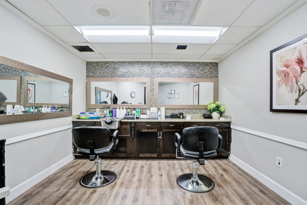 Salon stations for residents at Truewood by Merrill, Port Charlotte in Port Charlotte, Florida.