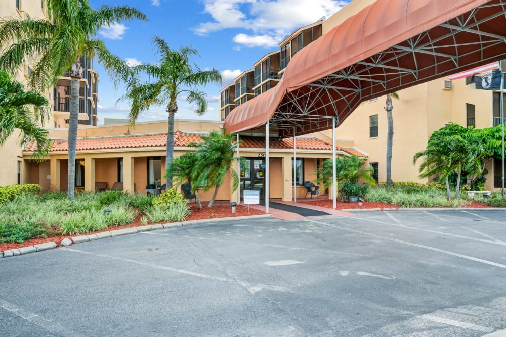Parking and entrance to Truewood by Merrill, Port Charlotte in Port Charlotte, Florida.