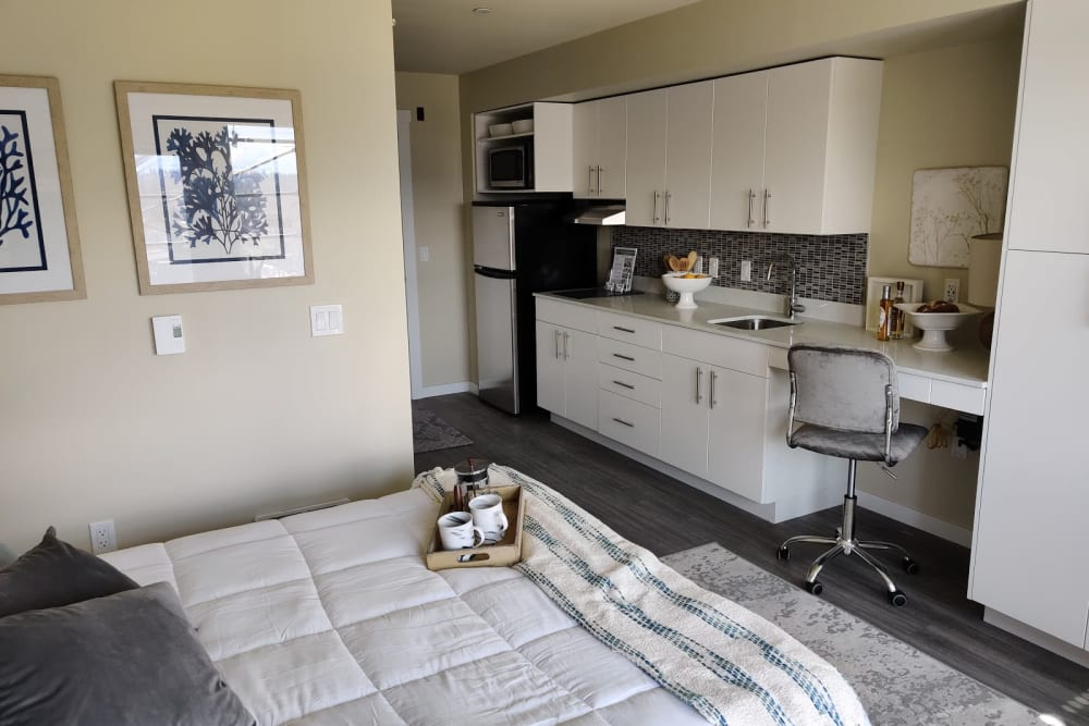 Kitchen in a studio apartment at Cubix at Othello in Seattle, Washington