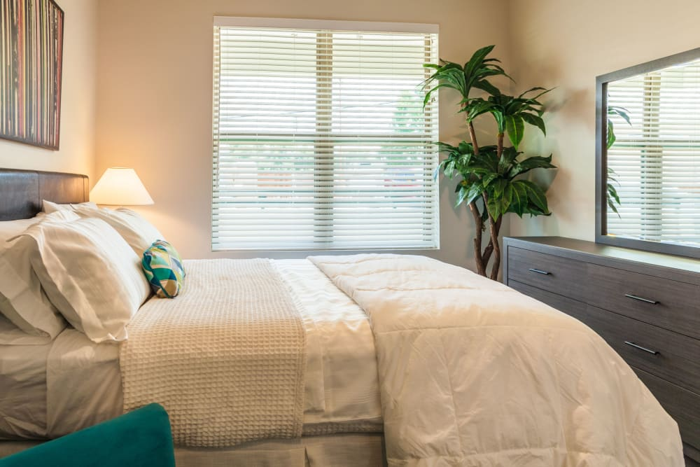 Model home's primary bedroom at Capitol Flats in Santa Fe, New Mexico