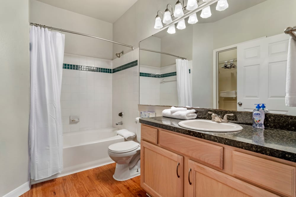 Model bathroom with oval tub and tiled shower at Regency at First Colony in Sugar Land, Texas