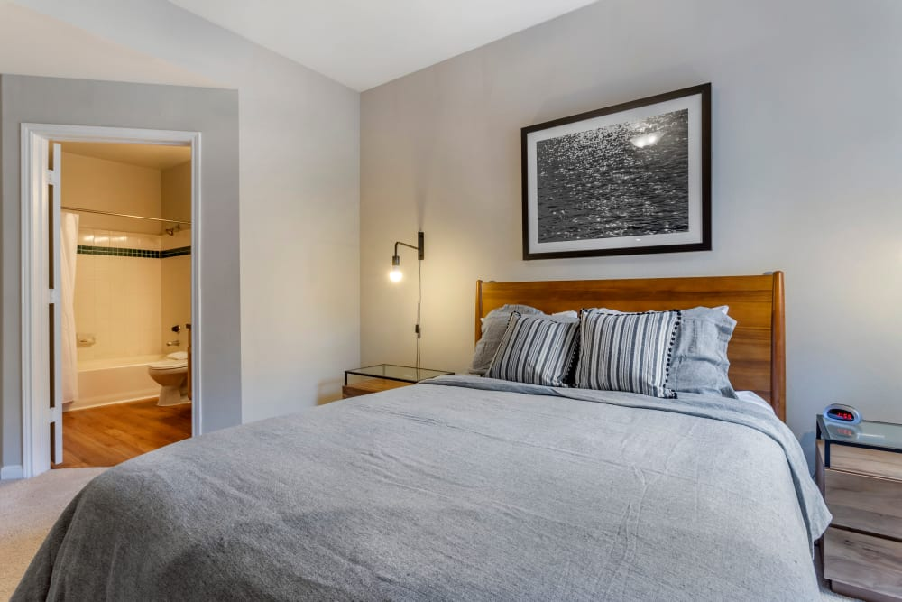 Spacious model bedroom with ensuite bathroom at Regency at First Colony in Sugar Land, Texas