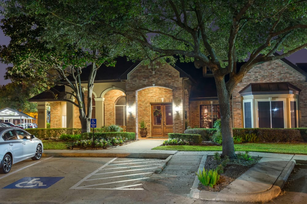 Exterior of the main entrance to the office at Regency at First Colony in Sugar Land, Texas