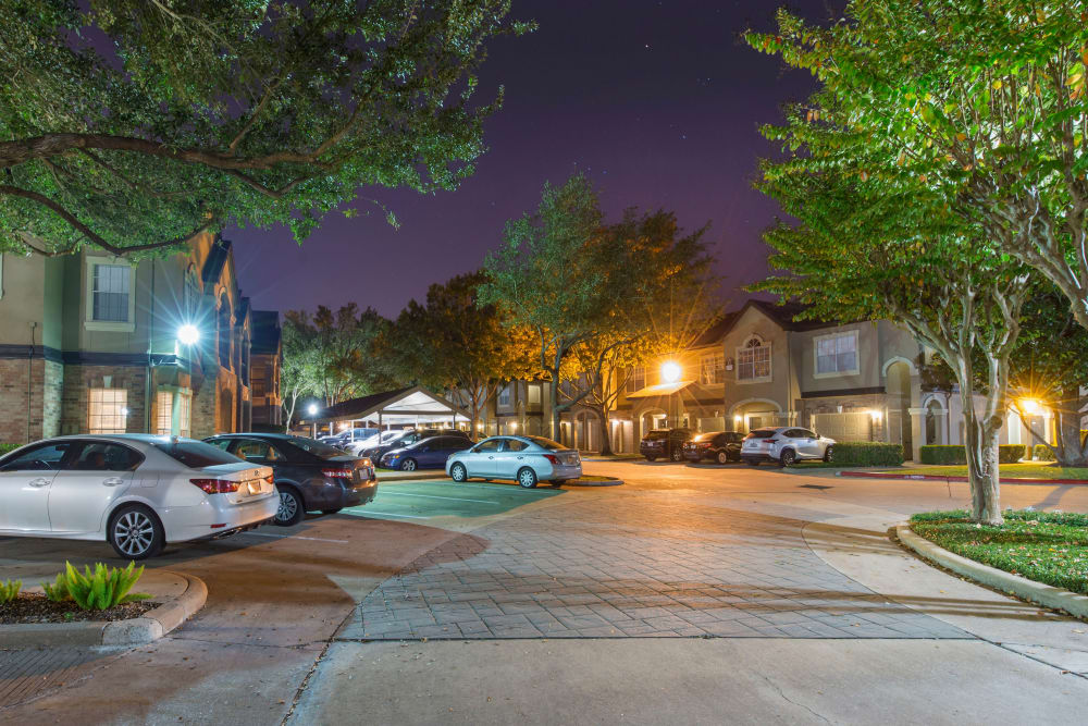 Covered and uncovered resident parking spaces at Regency at First Colony in Sugar Land, Texas
