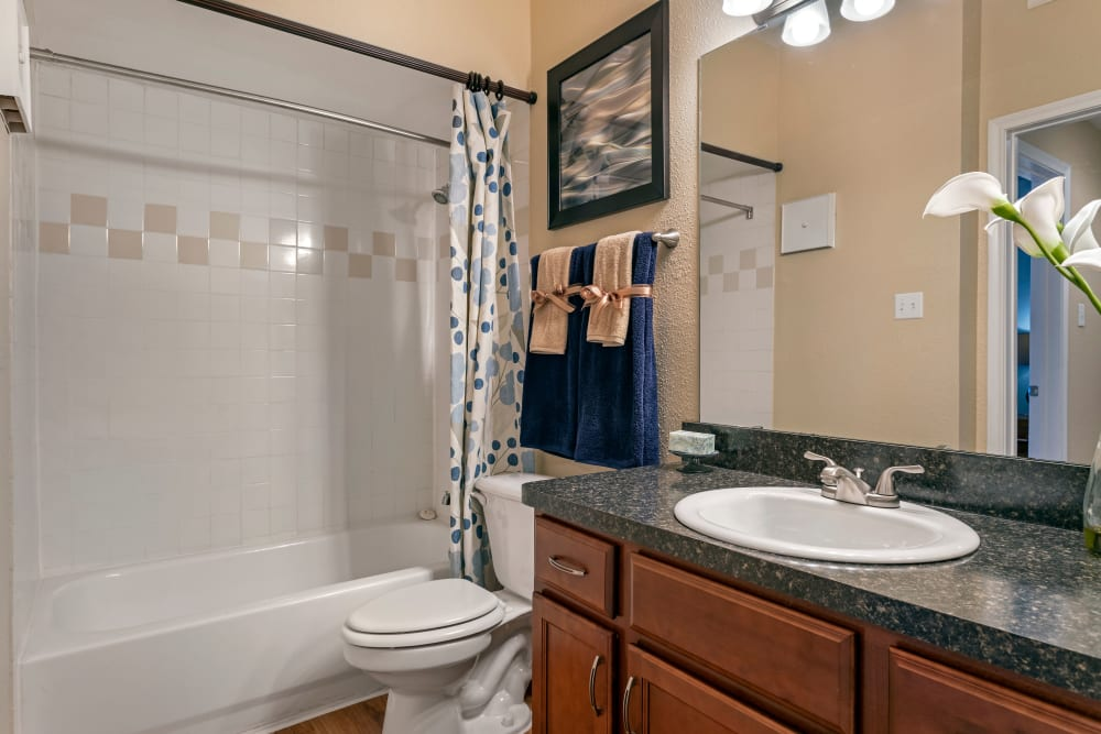 Model bathroom with custom cabinetry and tub and shower combination at Foundations at River Crest & Lions Head in Sugar Land, Texas