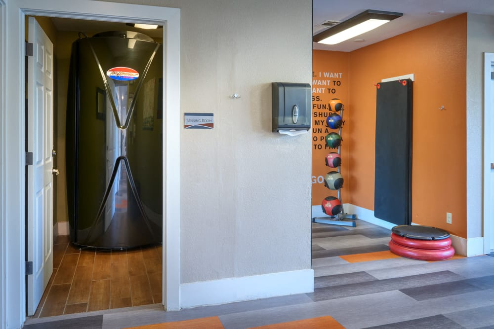 A tanning booth at The Crossings at Bear Creek Apartments in Lakewood, Colorado