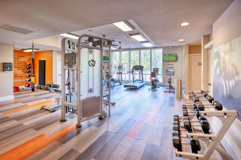 Clean, modern community gym at The Crossings at Bear Creek Apartments in Lakewood, Colorado