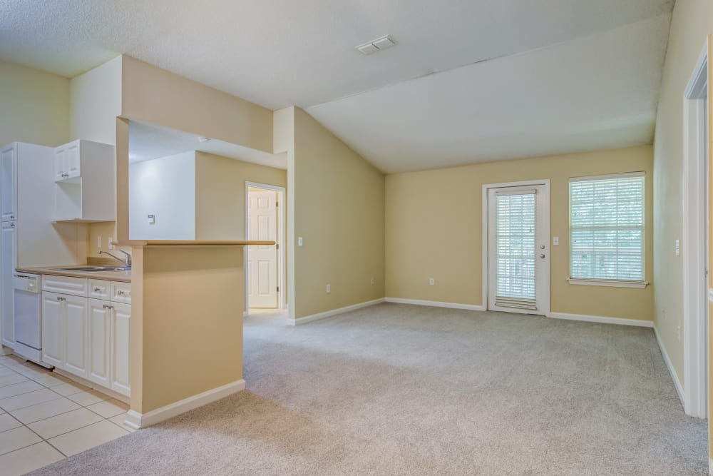 Kitchen and living area at Beechwood Pines in Athens, GA
