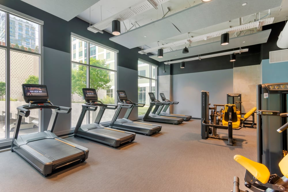Fully equipped fitness center at HERE Atlanta in Atlanta, Georgia near Georgia Institute of Technology
