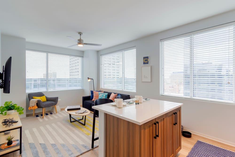Bright student apartment bedroom at HERE Atlanta in Atlanta, Georgia