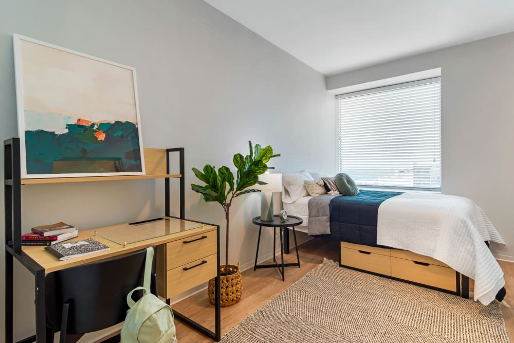 Well decorated student bedroom at HERE Atlanta off campus housing in Atlanta, Georgia near Georgia Institute of Technology