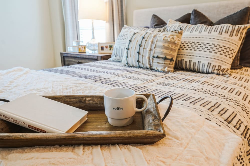 A furnished bedroom at Harmony at Mt. Juliet in Mt. Juliet, Tennessee