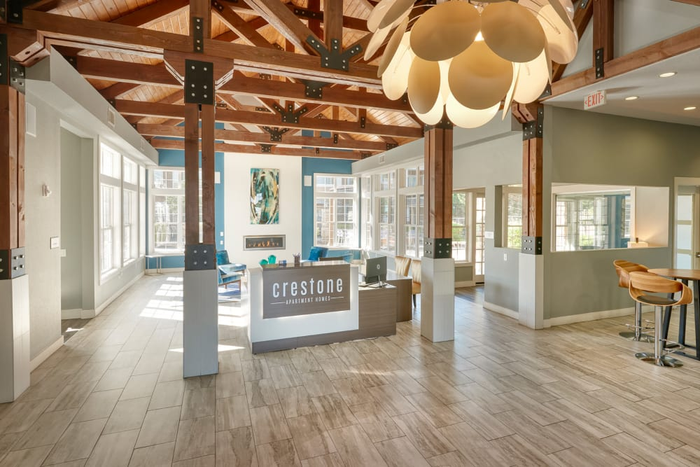 A common area entrance to the leasing office at Crestone Apartments in Aurora, Colorado