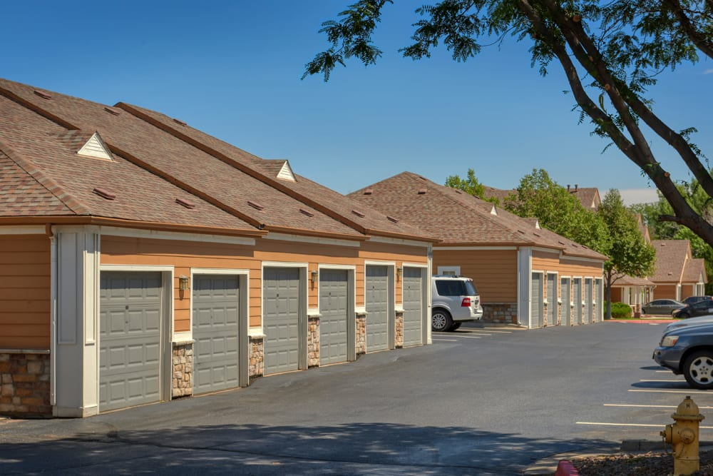 Garages for your convenience at Crestone Apartments in Aurora, Colorado