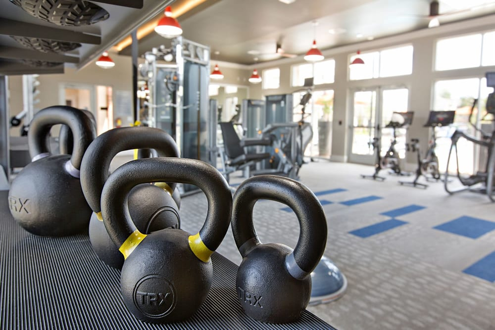 Kettle bell weights in the fitness area for residents to work out with at 8 Metro Station in Charlotte, North Carolina