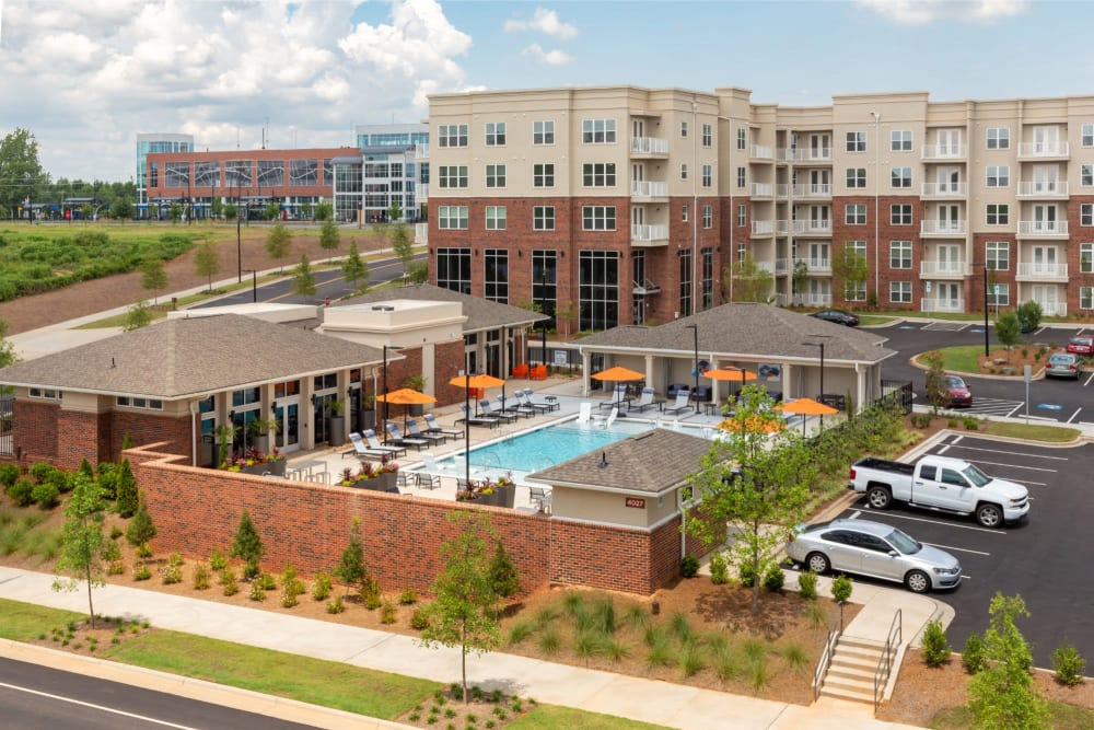 View of the entire property including the resort style swimming pool at 8 Metro Station in Charlotte, North Carolina