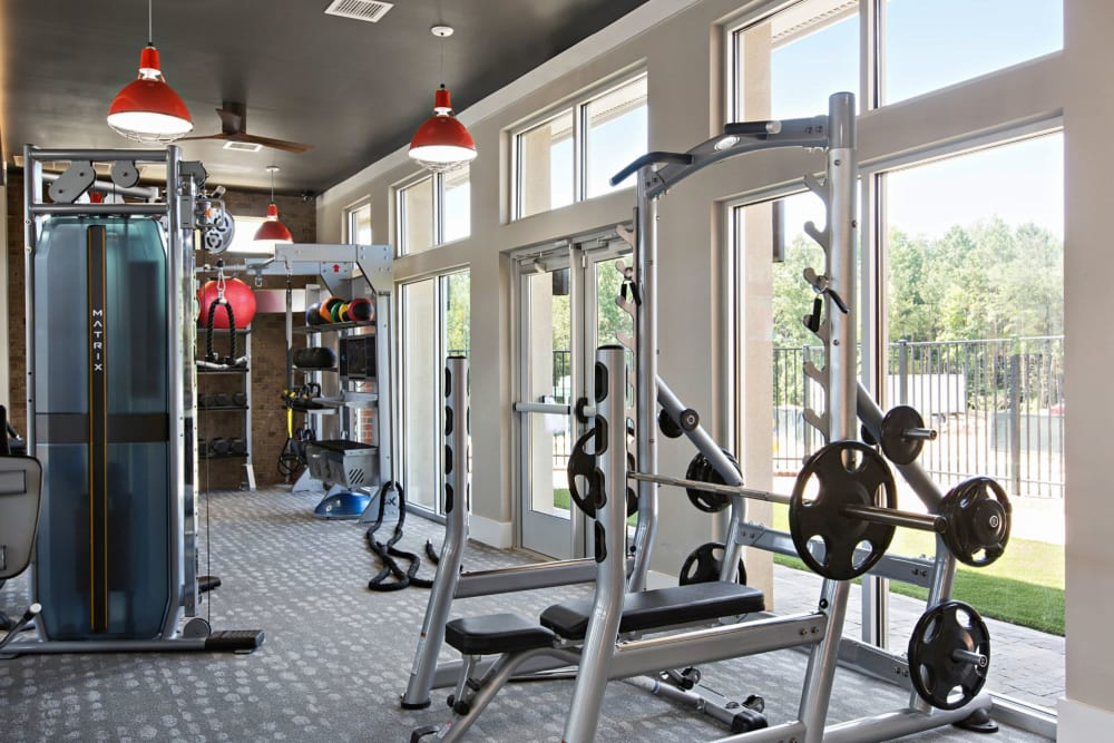 Weight area in the full fitness center at 8 Metro Station in Charlotte, North Carolina