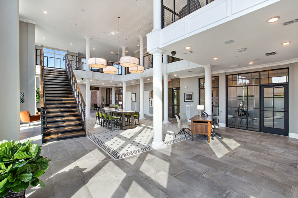 Huge two story clubhouse where residents can hang out, play games, and relax at 8 Metro Station in Charlotte, North Carolina