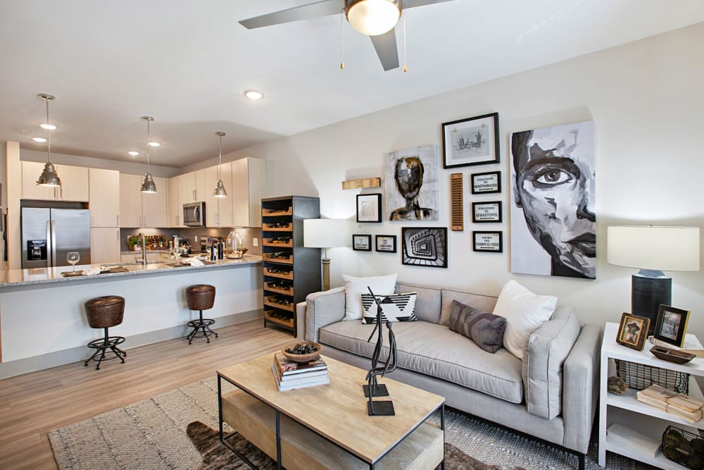 Large and well lit living room with awesome decor in a model home at 8 Metro Station in Charlotte, North Carolina