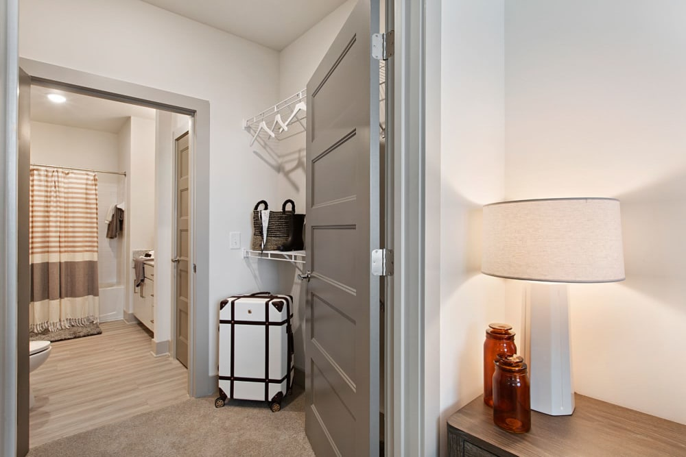 Large closet and bathroom in a model home at 8 Metro Station in Charlotte, North Carolina