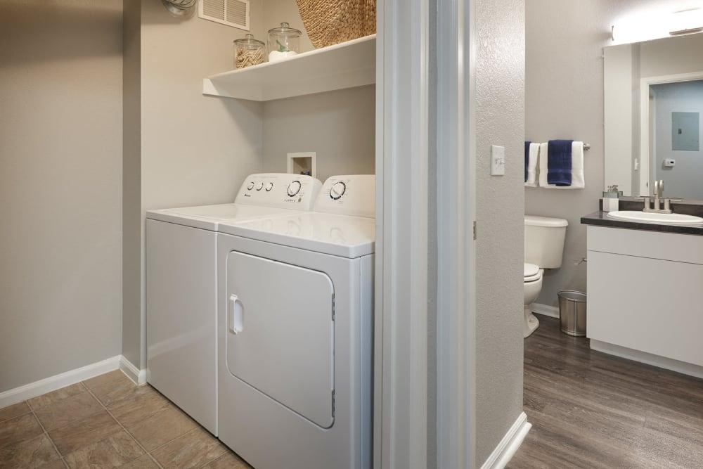 An apartment laundry room at Crestone Apartments in Aurora, Colorado